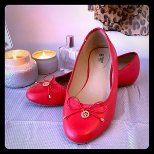 Cushion Walk by AVON red flat shoes